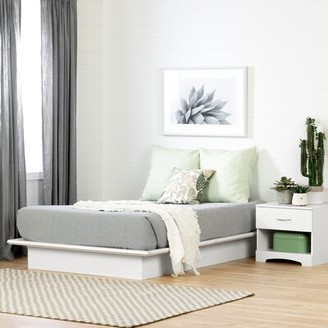 South Shore Step One Platform Bed Color: White, Size: Queen