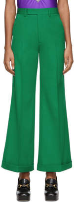 Gucci Green Wool Ankle Trousers