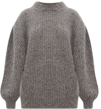 Raey Oversized Ribbed Wool-blend Sweater - Womens - Charcoal