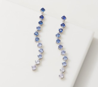Diamonique Classic Blue Round-Cut Ombre Earrings, Sterling Silver