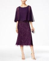 J Kara Beaded Capelet Midi Dress