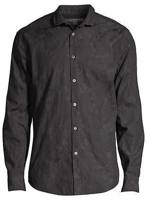John Varvatos Slim-Fit Wire Inserted Collar Jaquard Sport Shirt