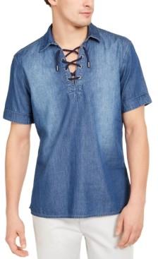 INC International Concepts Inc Men's Regular-Fit Lace-Up Denim Shirt, Created for Macy's