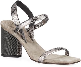 Brunello Cucinelli 80mm Metallic Textured Leather Sandals