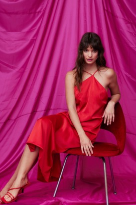 Nasty Gal Womens Let Love Satin Halter Midi Dress - Red - 4