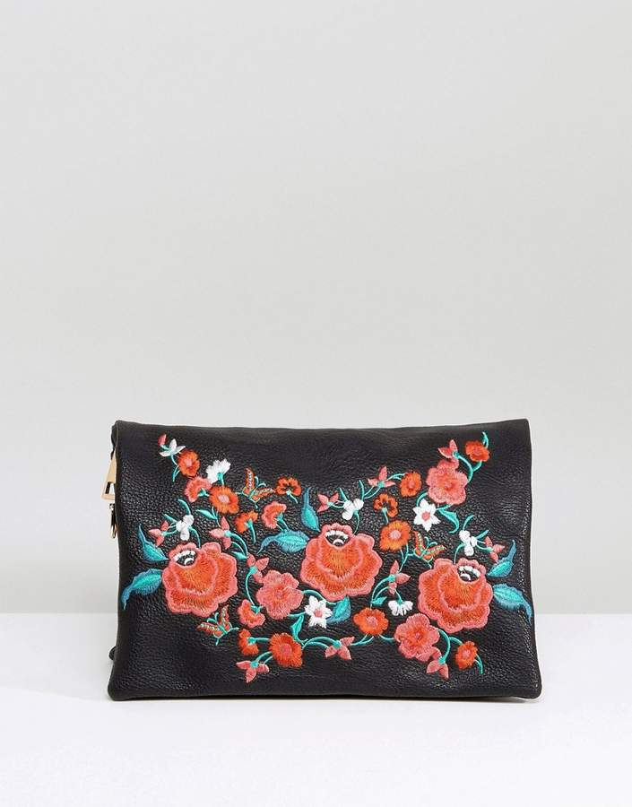 Oasis Floral Embroidered Clutch