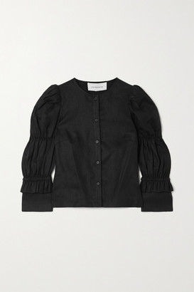 Les Rêveries Elizabeth Ruched Ruffled Linen Shirt - Black