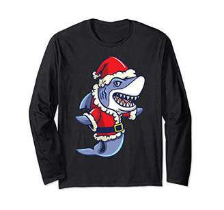 Christmas Santa Shark Gift Family Matching Shirt Boys Girls Long Sleeve T-Shirt