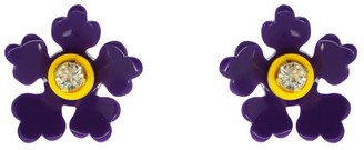 Gissa Bicalho Acrylic Handmade Earring Kit Flower - Aubergine