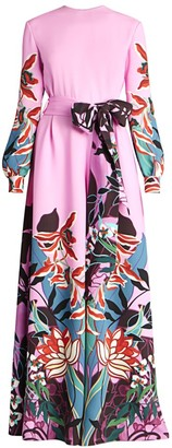 Valentino Orchid Jungle-Print Silk Wide-Leg Jumpsuit