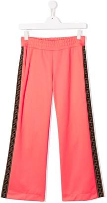 Fendi Kids TEEN side-stripe flared trousers