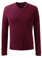 Classic Men's Fine Gauge Cashmere V-neck Sweater-Red Cedar Heather Check