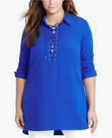 Lauren Ralph Lauren Plus Size Lace-Up Tunic
