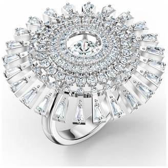 Swarovski Sparkling Dance Dial Up Ring - White - Rhodium