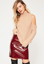 Missguided Cold Shoulder Turtle Neck Slouchy Sweater Pink