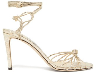 Jimmy Choo Lovella 85 Knotted Lizard-effect Leather Sandals - Womens - Gold