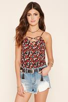 Forever 21 FOREVER 21+ Abstract Print Lace-Up Cami