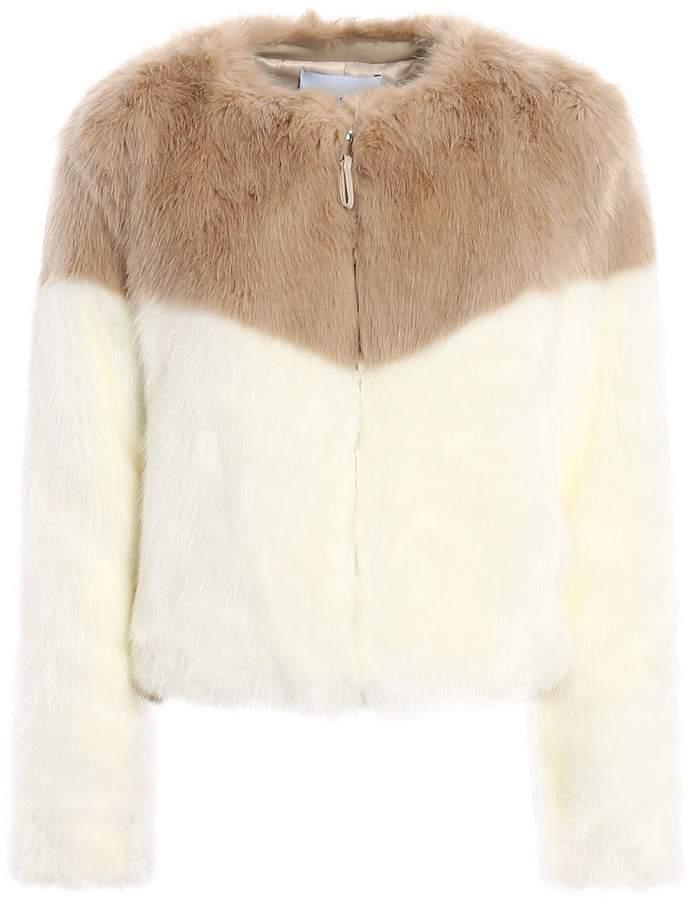 Dondup Colour Block Faux Fur Crop Jacket