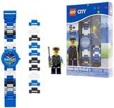 Lego City Special Policeman Kids Buildable Watch with Link Bracelet and Minifigure | blue/black | plastic | 28mm case diameter| analogue quartz | boy girl | official