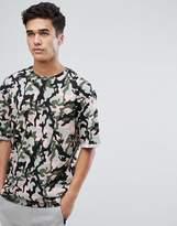 Jack and Jones Originals Drop Shoulder T-Shirt In Camo Print