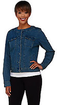 As Is Denim & Co. Round Neck Cropped Jean Jacket