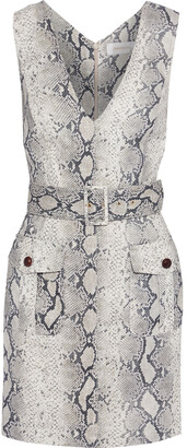 Zimmermann Corsage Safari Belted Printed Linen Mini Dress