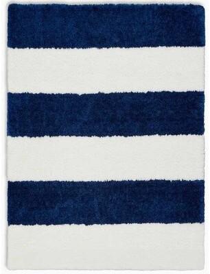 Calvin Klein Chicago Striped Handmade Shag White/Navy Blue Area Rug Rug Size: Rectangle 4' x 6'