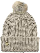 Vince Camuto Women's Chunky Knit Cuff Beanie with Striped Pom