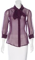 Halston Silk Polka Dot Print Top