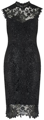 Dorothy Perkins Womens Paper Dolls Black Sequin Lace Bodycon Dress, Black