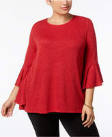 Alfani Plus Size Bell-Sleeve High-Low Sweater, Created for Macy's