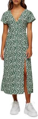 Topshop PETITE Ditsy V-Neck Flutter Slit Dress