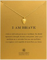 "Dogeared I Am Brave"" Shield Necklace, Gold Dipped 16"""