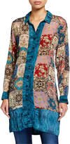 Tolani Plus Size Eloise Long Silk Tunic Blouse