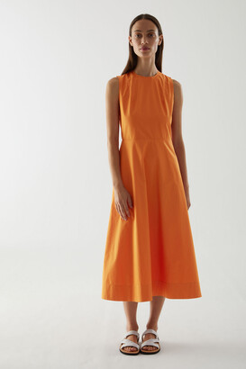 Cos Waisted Backless Cotton Dress
