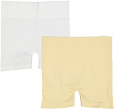 White & Beige Seamless High-Waist Shorts Set