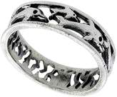 Sabrina Silver Sterling Silver Dolphins Ring 1/4 inch wide, size 8.5