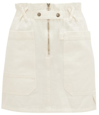 Sea Mara Paperbag-waist Cotton-twill Mini Skirt - White