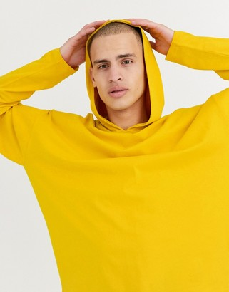 Asos Design DESIGN oversized lightweight hoodie with double layer sleeve in yellow