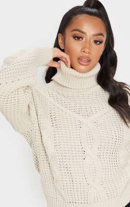 PrettyLittleThing Petite Stone Oversized Chunky Knit Jumper