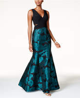 Xscape Evenings Illusion Floral-Brocade Mermaid Gown