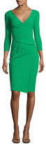 La Petite Robe di Chiara Boni 3/4-Sleeve Faux-Wrap Jersey Dress, Green