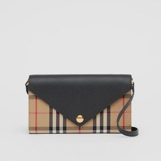 Burberry Vintage Check and Leather Wallet with Detachable Strap