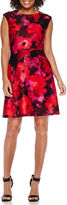 Studio 1 Short-Sleeve Floral Scuba Fit-and-Flare Dress - Petite