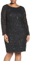 Adrianna Papell Embellished Scoop Back Cocktail Dress (Plus Size)