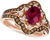 LeVian Le Vian Chocolatier® Raspberry Rhodolite® (1-1/3 ct. t.w.) & Diamond (3/4 ct. t.w.) Ring in 14k Rose Gold