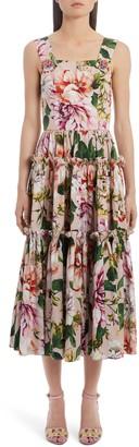 Dolce & Gabbana Tiered Floral Cotton Poplin Midi Dress