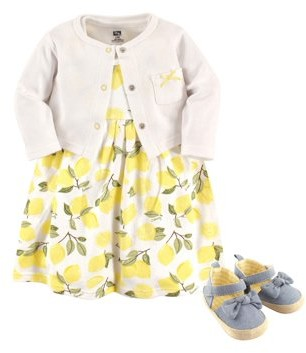 Baby Vision Girl Cardigan, Dress & Shoes, 3pc Outfit Set