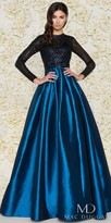 Mac Duggal Long Sleeve Sequin Lace Pleated Ball Gown