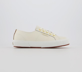 Superga 2750 Trainers Prestine White Leather Leopard Exclusive